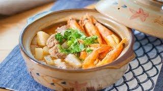 [Eng Sub]鲜虾羊肉砂锅 Chinese food recipe:  Lamb & prawn stew