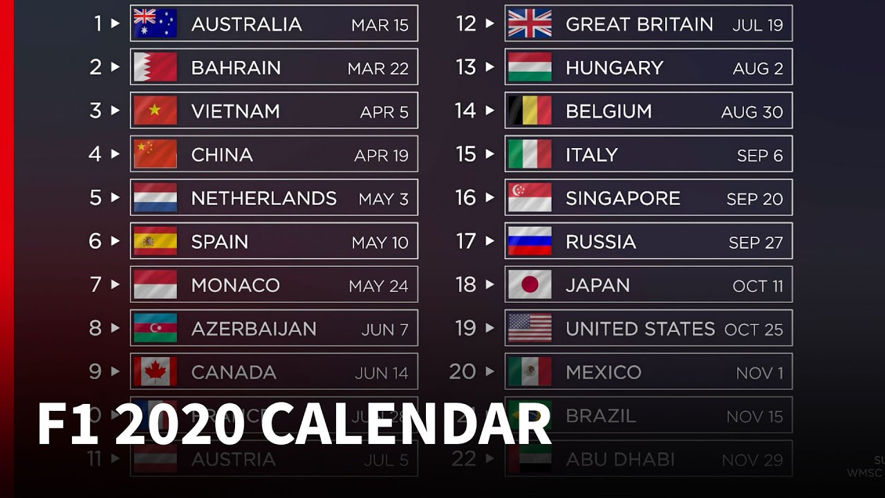 F1 Calendar 2021 2020 F1 calendar   what's new?   YouTube