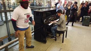 Abba Mamma Mia Man Dances with Joy Train Station Piano Cover - Cole Lam 11 Years Old