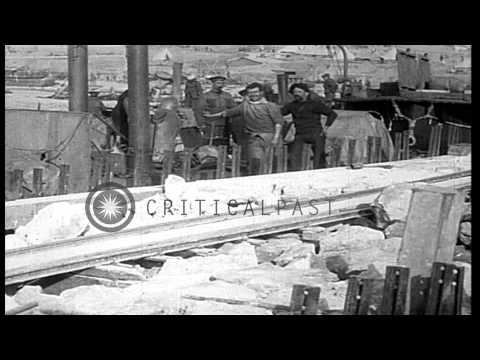 British troops disembark and lay narrow gauge rail during World War I in Sedd ul ...HD Stock Footage