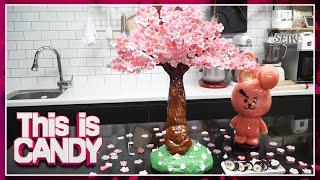 [설탕공예]슈가슬라임으로 시들지 않는 사탕 벚꽃나무 만…