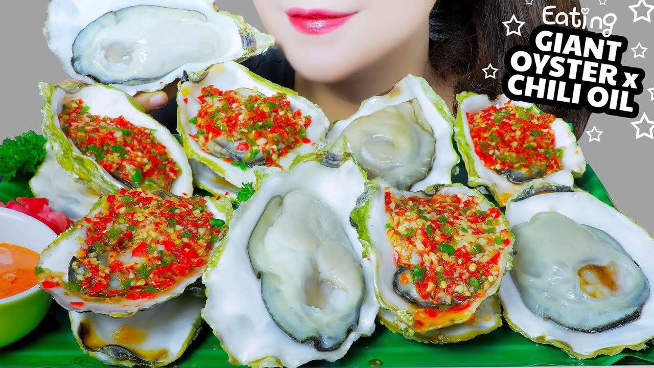 ASMR COOKING GIANT OYSTERS COVERED WITH CHILI OIL , SOFT EATING SOUNDS | LINH-ASMR