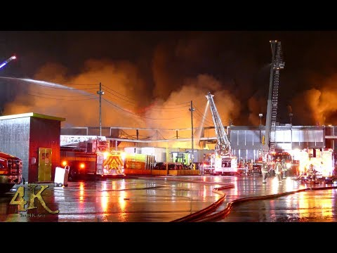 Toronto: Giant 6 alarm fire burns through industrial building at port 5-25-2017