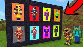 Minecraft TRAVELLING TO SUPERHERO DIMENSION THROUGH PORTAL MOD!! DON'T GET KILLED BY VILLAINS!! Mods