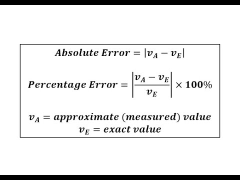 Determine Absolute Error and Percent Error