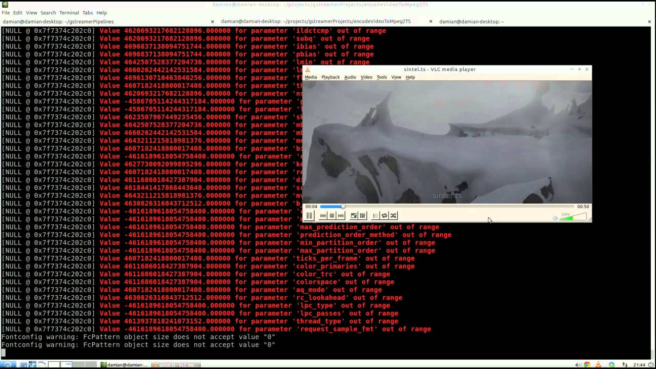 GStreamer - Encode to H 264 and encapsulate to MPEG2-TS