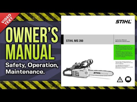Owner's Manual: STIHL MS 200 Chain Saw