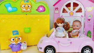 Baby doll Bag House and dress change toys pororo car play 아기인형 가방 드레스 하우스 뽀로로 장난감놀이 - 토이몽