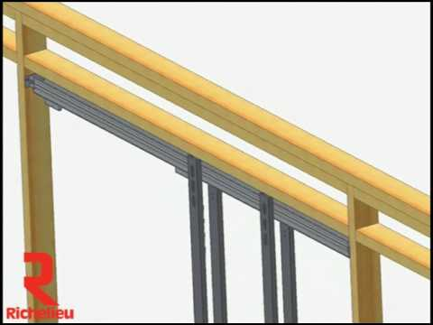 Richelieu Hardware - Sliding system hardware kit for wood door pocket C-411 using TYPE-C track