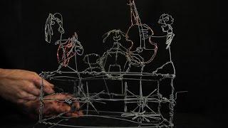 Wire Sculpture Three Piece Band Music Box