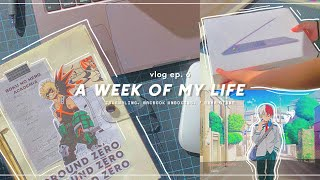 a week of my life   : animejournaling, playing mha otome, & macbook pro unboxing !