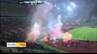 ยกเลิกฟุตบอลโลกรอบคัดเลือก โซนเอเชีย มาเลเซีย ซาอุดิอาระเบีย แฟนบอลโยนพลุควันลงสนาม