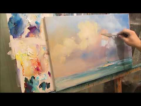 Marine painting by oil. Sea. Bright day. Part 2