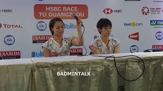 WD Champion Yuki Fukushima Sayaka Hirota Press Conference after Indonesia Open 2018 Final
