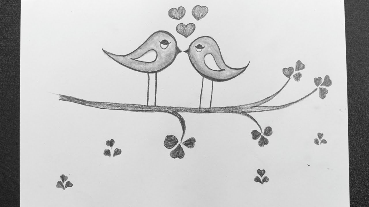 How To Draw Love Birds Love Birds Drawing Easy Love Birds Scenery Drawing Pencil Art Youtube