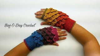 How to Crochet Fingerless Mittens Wristers | Autumn Leaves | BAGODAY CROCHET Tutorial #422