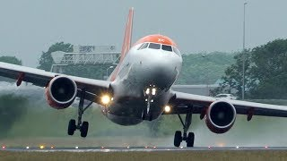 OOPS - AIRBUS A320 CROSSWIND LANDING during a stormy DAY at Amsterdam Schiphol (4K)