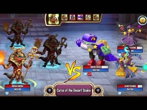 Monster Legends - Viperhotep leve 130 vs Blockheart combat review