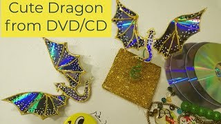Waste Material Craft Ideas Recycle DVDs in to Cute Dragon #bestoutofwaste #RecycleDVDs #cdrecycling