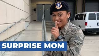 20-Year-Old Female Airman Surprises Mom at Work