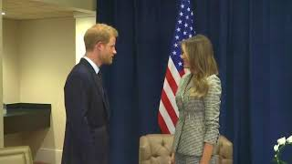 Melania Trump arrived in Toronto to lead the United States' delegation to the Invictus Games for wounded soldiers. Trump met with Prince Harry, a former soldier, who started the games in 2014. (The Associated Press)
