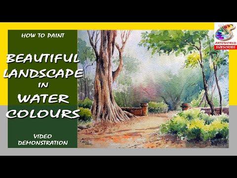 Watercolour Landscape-13 | Painting | techniques |  Video Demo | Fine Arts