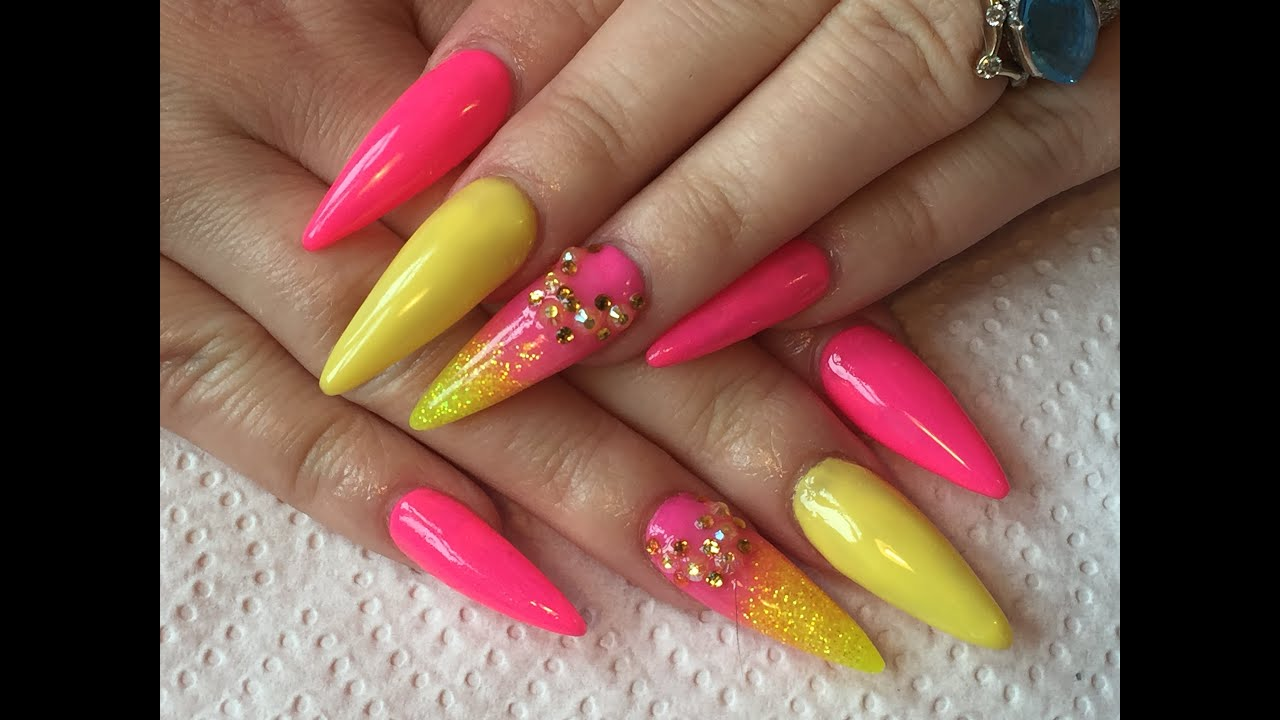 Acrylic nails - pink and yellow summer sculpted stiletto nails - YouTube