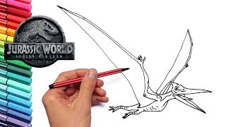 How to Draw Flying Dinosaur Pteranodon From Jurassic World - Dinosaur Color Pages For Kids