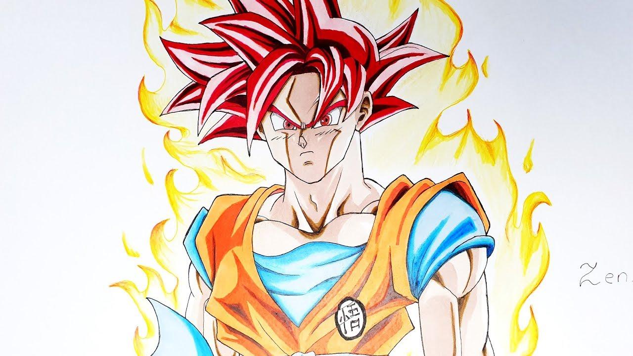 Dessin De Sangoku Super Saiyan Divin Speed Drawing Dbs Youtube