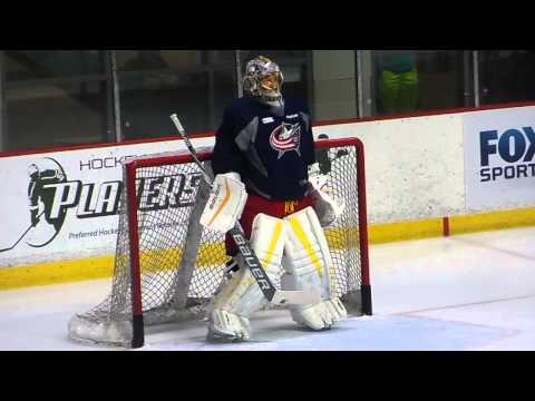 Elvis Merzlikins Goaltender Drill with NHL Players