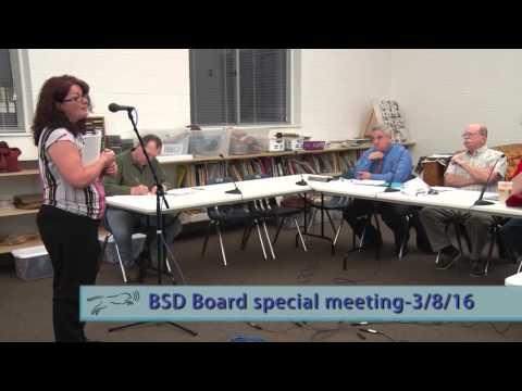Bennington School District Board - Special Meeting - 3/8/16