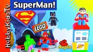 Duplo Superman Hero! Joker Attacks, Batman Flies, Hulk Smash, Spiderman, Catwoman Lego HobbyKidsTV