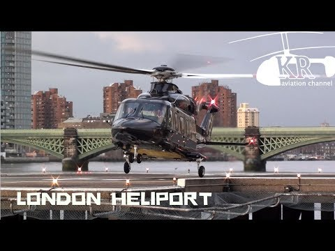 VIP AW139 landing, startup and take off at London Heliport