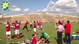 """بالفيديو: التدريب الأخير للأهلي قبل لقائه بفريق """"الملعب"""" بطل مالي"""