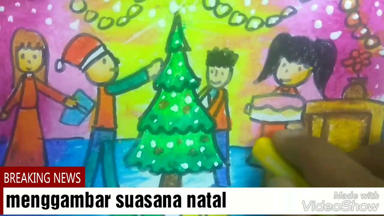 Cara Menggambar Dengan Tema Natal Dan Mewarnai Dengan Oil Pastel