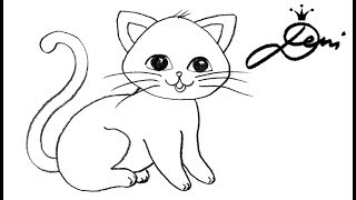 Katze schnell zeichnen lernen - how to draw a cat for children - как се рисува коте