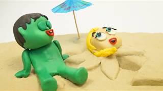 Superhero Sand beach Stop motion cartoons for kids