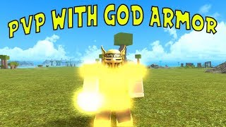 PVP with GOD ARMOR | Roblox booga booga