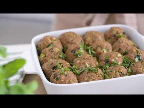 recette-boulettes-de-veau,-courgettes-grillées,-tomates-séchées,-basilic-et-quinoa