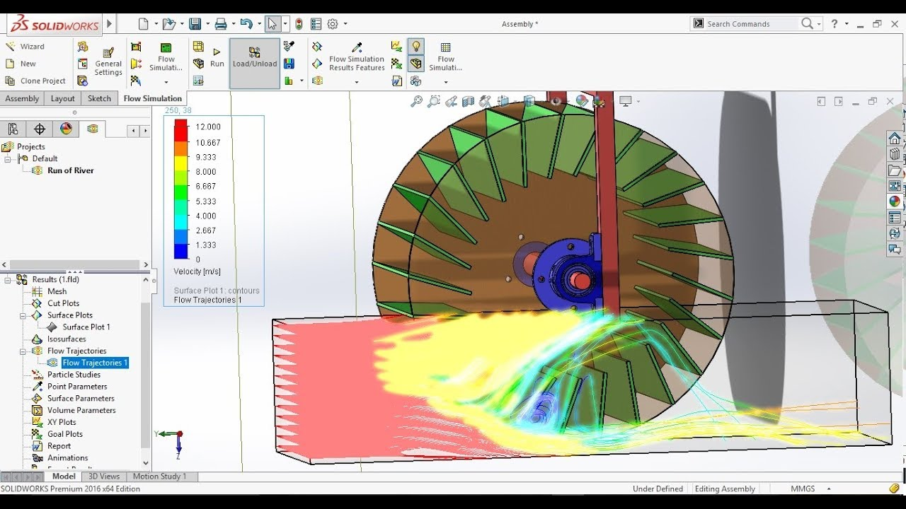 solidworks flow simulation tutorial with rotating region on run of