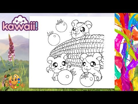 Kawaii Fruits : Hamsters eating berries and corn   Coloring pages for kids   Coloring book  