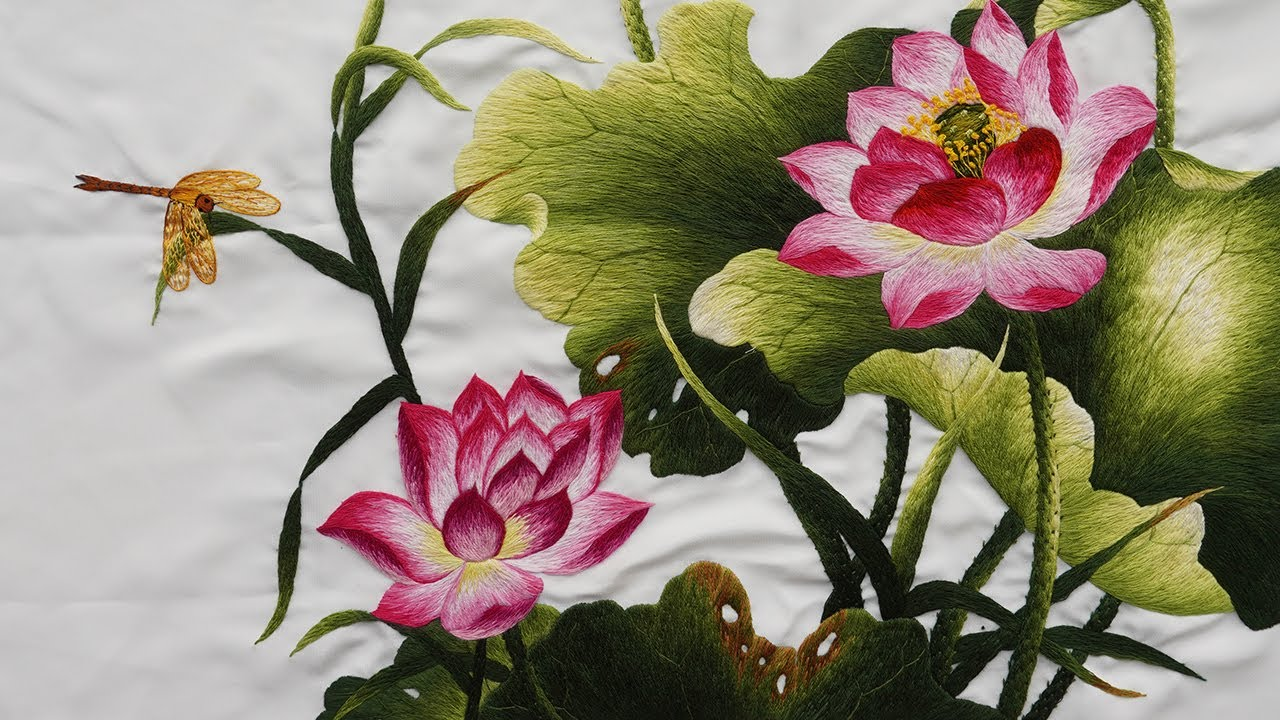 Vietnamese Girl with Hand Embroidery - Lotus Flower Embroidery