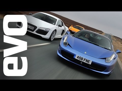 Audi R8 Plus, Ferrari 458 Italia, McLaren 12C on the road | evo TV
