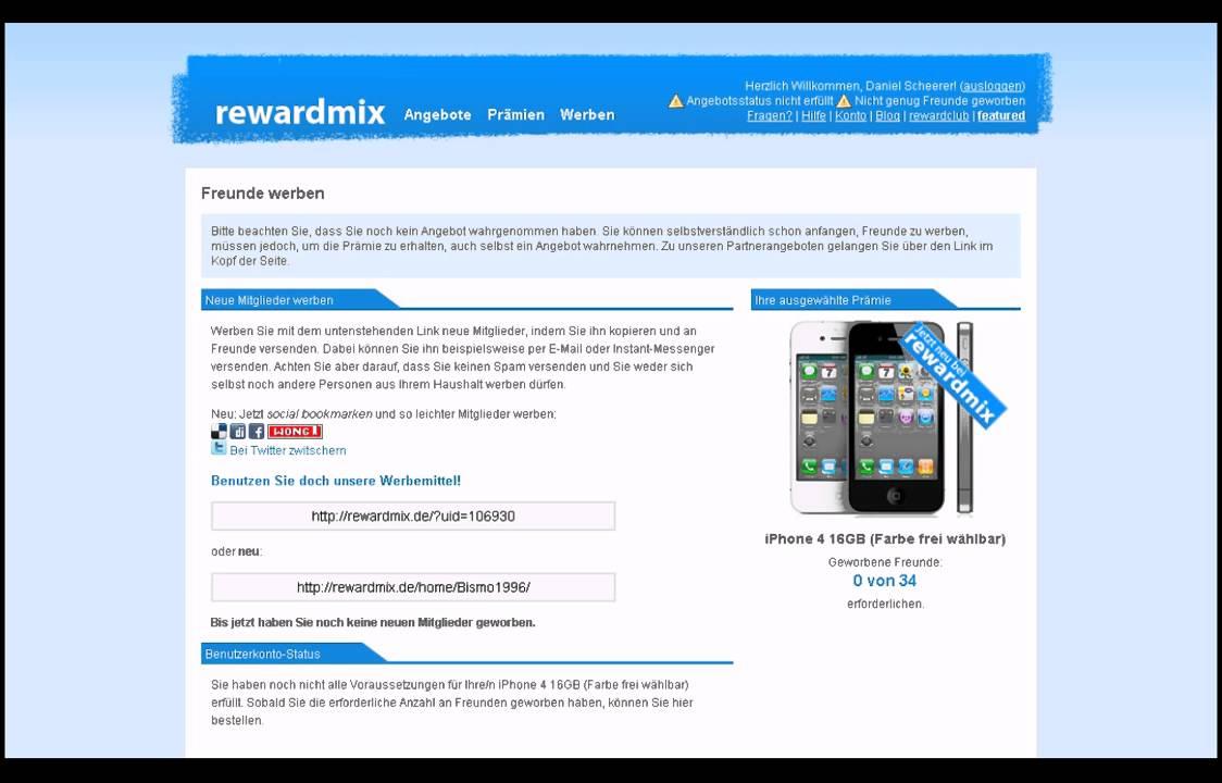 Rewardmix Hack Kostenloses Iphone 4g In Max 15min Gewinnspiel