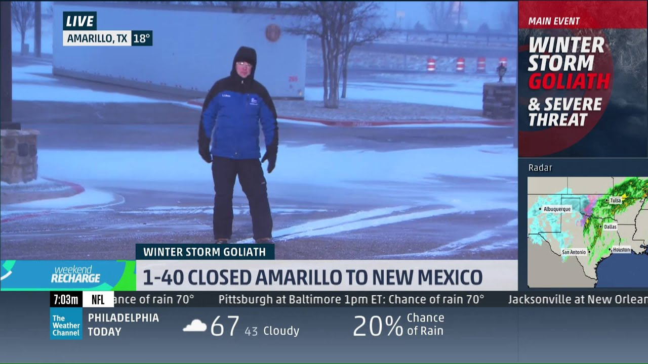 Mike Seidel The Weather Channel Amarillo, TX Snow/Wind 12-27-2015