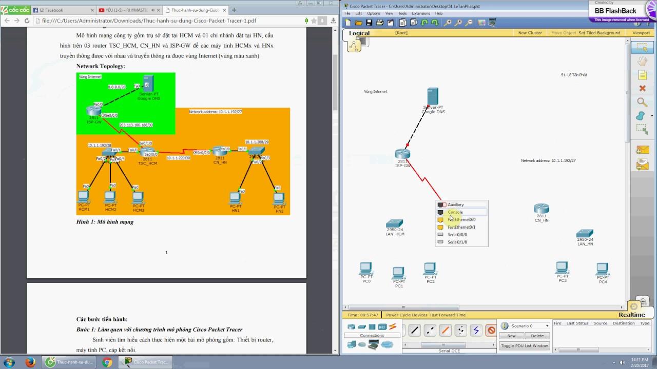Bài tập vẽ sơ đồ mạng với Cisco Packet Tracer