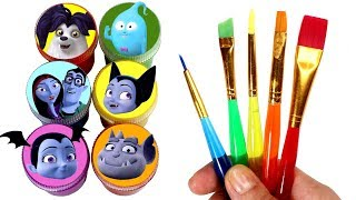Vampirina Drawing & Painting with Surprise Toys Vee Wolfie Gregoria Demi Ghoul Girls Surprise Toys