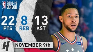 Ben Simmons Full Highlights 76ers vs Hornets 2018.11.09 - 22 Pts, 13 Ast, 8 Rebounds!