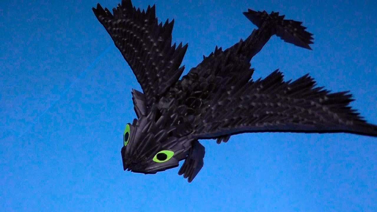 3D origami dragon Night fury (Toothless) tutorial ... - photo#27