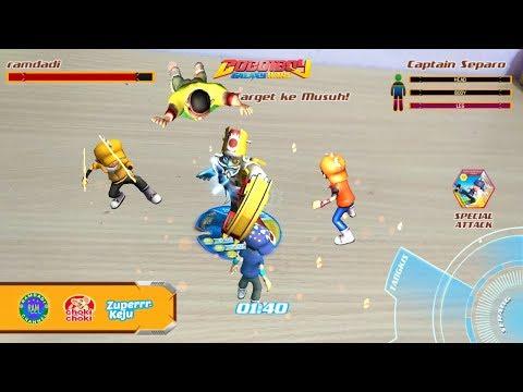 Seru ! Pertarungan Boboiboy Galaxy VS Captain Separo choki choki zuper keju